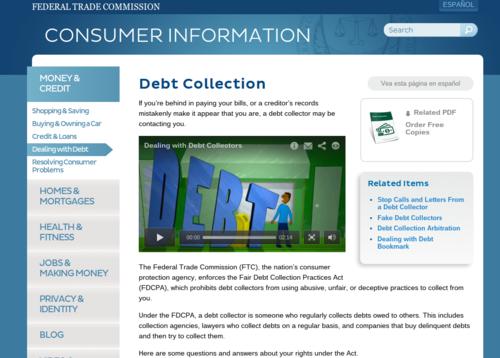 Debt Collection   Consumer Information