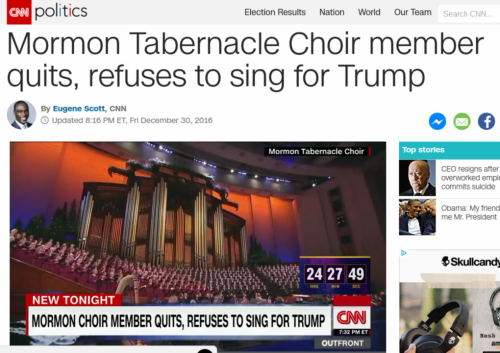 Mormon Tabernacle Choir member quits  refuses to sing for Trump   CNNPolitics.com