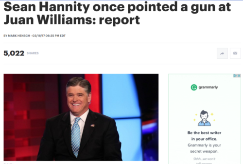 Sean Hannity once pointed a gun at Juan Williams  report   TheHill