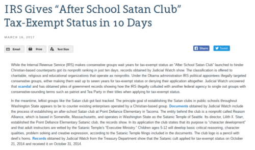 "IRS Gives ""After School Satan Club"" Tax Exempt Status in 10 Days   Judicial Watch"
