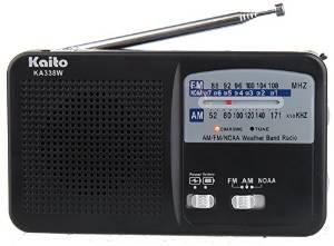 Kaito KA338 Emergency Hand Crank Dynamo 5-LED Flashlight with AM/FM/NOAA radio (Compact, AM/FM NOAA Weather Radio) (Black)