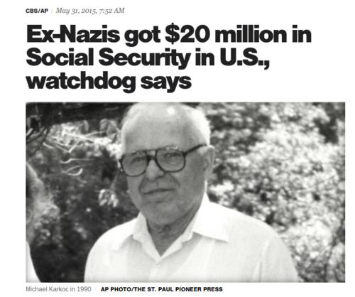 Ex Nazis got  20 million in Social Security in U.S.  watchdog says   CBS News