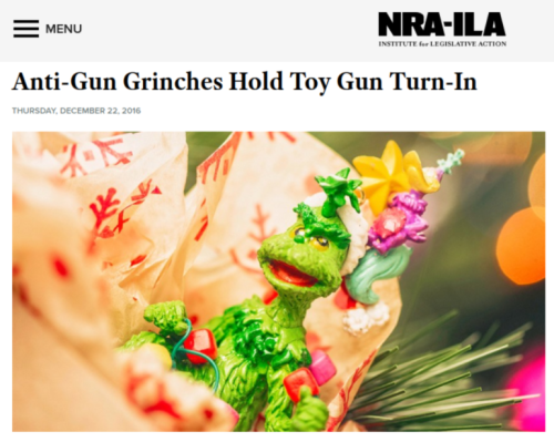 NRA ILA   Anti Gun Grinches Hold Toy Gun Turn In