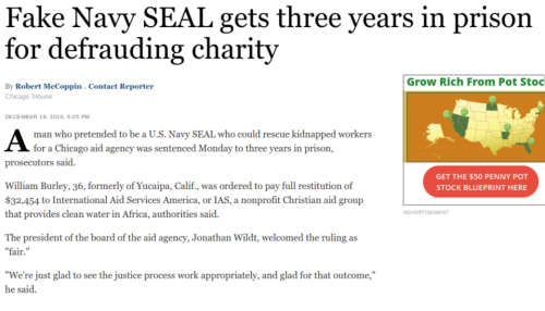 Fake Navy SEAL gets three years in prison for defrauding charity   Chicago Tribune
