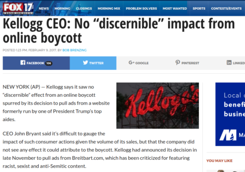 "Kellogg CEO  No ""discernible"" impact from online boycott   Fox17"