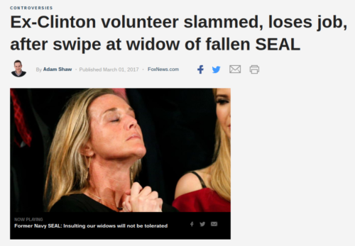 Ex Clinton volunteer slammed  loses job  after swipe at widow of fallen SEAL   Fox News