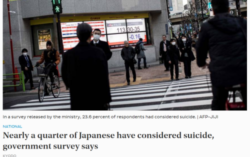 Nearly a quarter of Japanese have considered suicide  government survey says   The Japan Times