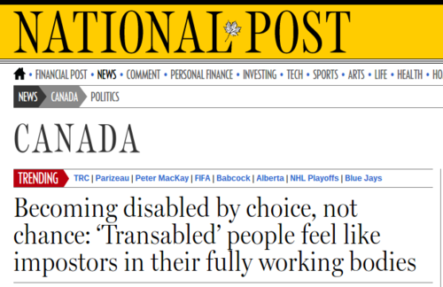 Becoming disabled by choice  not chance  'Transabled' people feel like impostors in their fully working bodies   National Post