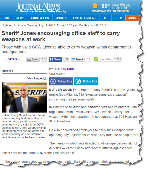 Sheriff Asks Civilian Employees to Be Armed at Work - James L  Paris