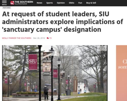 At request of student leaders  SIU administrators explore implications of  sanctuary campus  designation   SIU   thesouthern.com