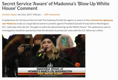 Secret Service  Aware  of Madonna s  Blow Up White House  Comment