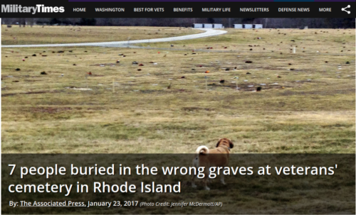 7 people buried in the wrong graves at veterans  cemetery in Rhode Island