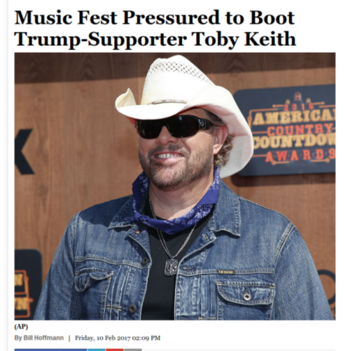 Music Fest Pressured to Boot Trump Supporter Toby Keith