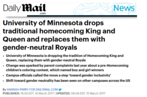 No More Homecoming King and Queen at the University of Minnesota  Only Gender Neutral Royals   James L. Paris