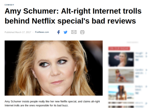 Amy Schumer  Alt right Internet trolls behind Netflix special s bad reviews   Fox News