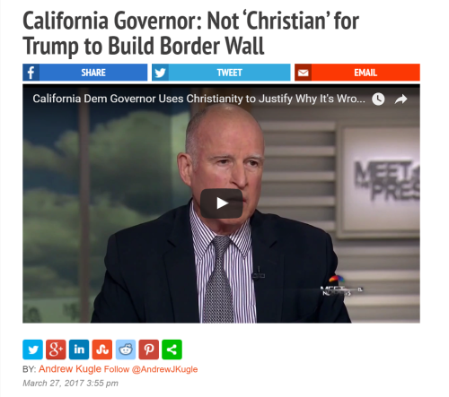California Governor  Not  Christian  for Trump to Build Border Wall